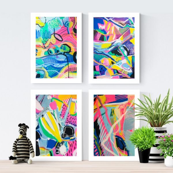 Happy Moments - Set of 4 Fine Art Prints
