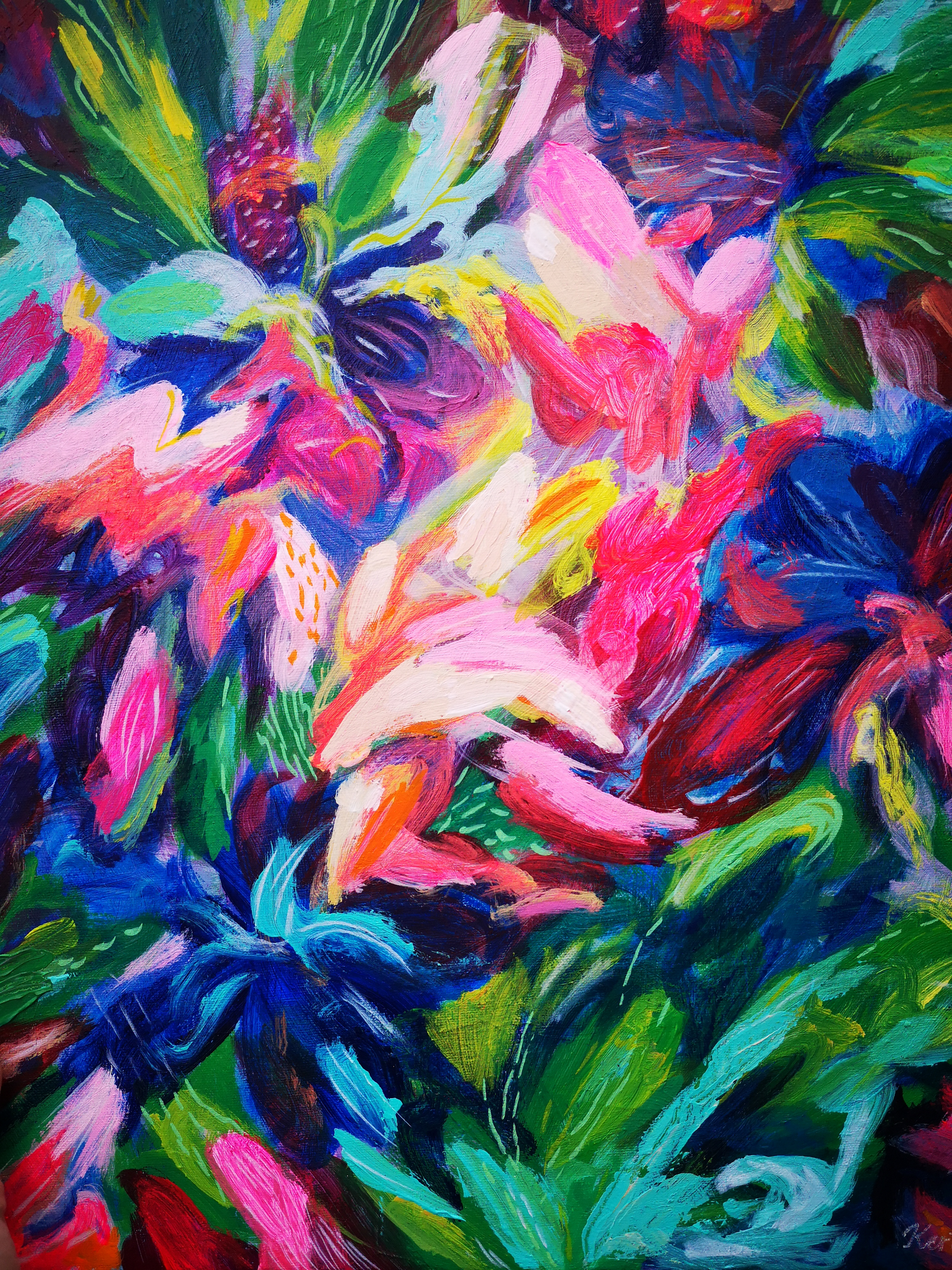 """""""In Full Bloom"""" An Original 20×16″ Abstract Painting"""